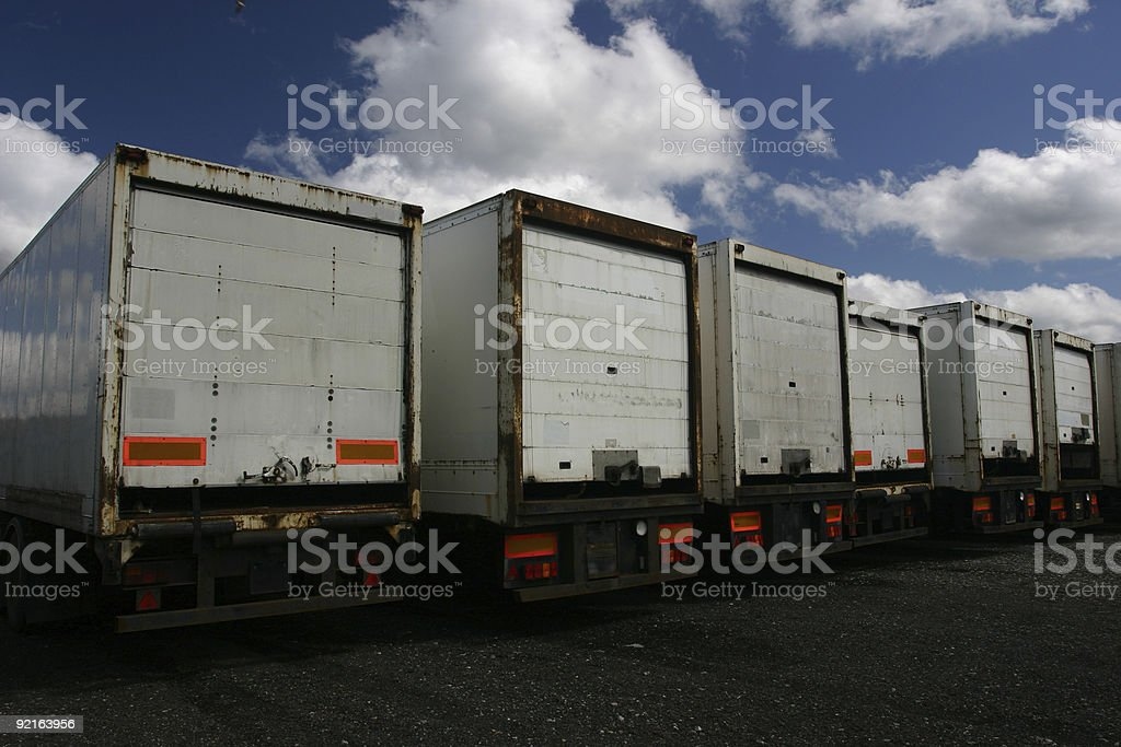 articulated truck trailers in park stock photo