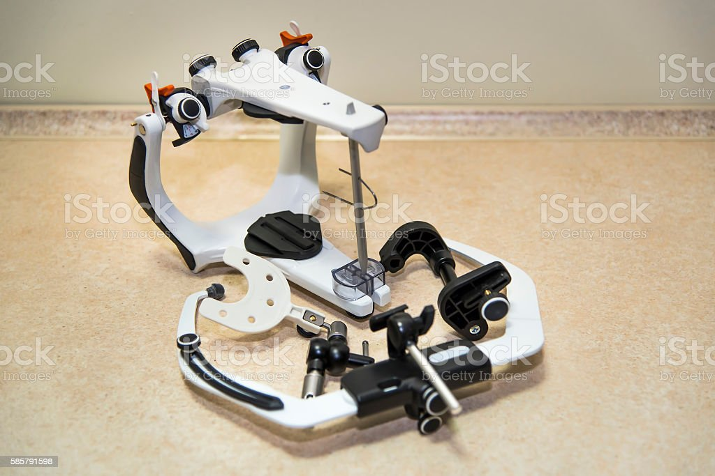 Articulator and face bow stock photo