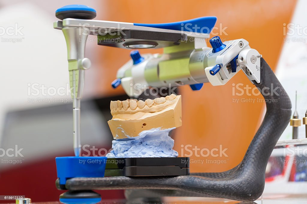 articulator dental appliance.Tools for dental prosthetist stock photo