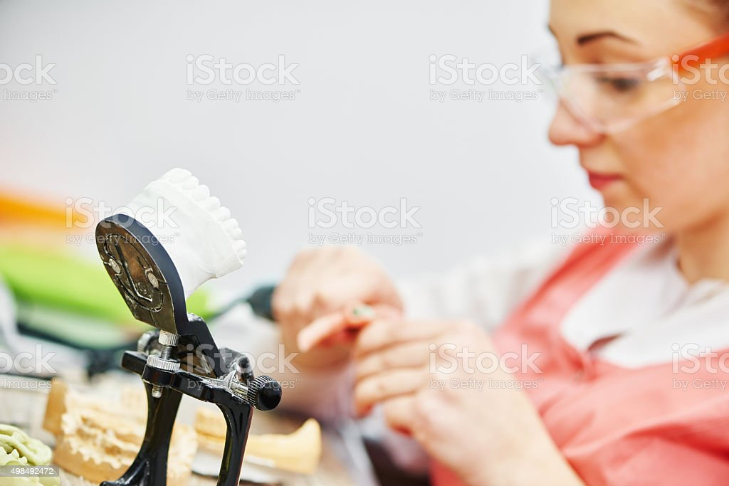 articulator with dental prosthesis model stock photo