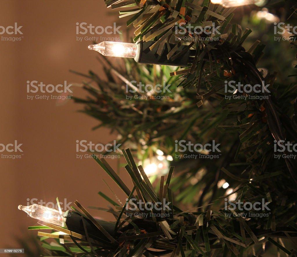 Artifical Christmas Tree Lights stock photo