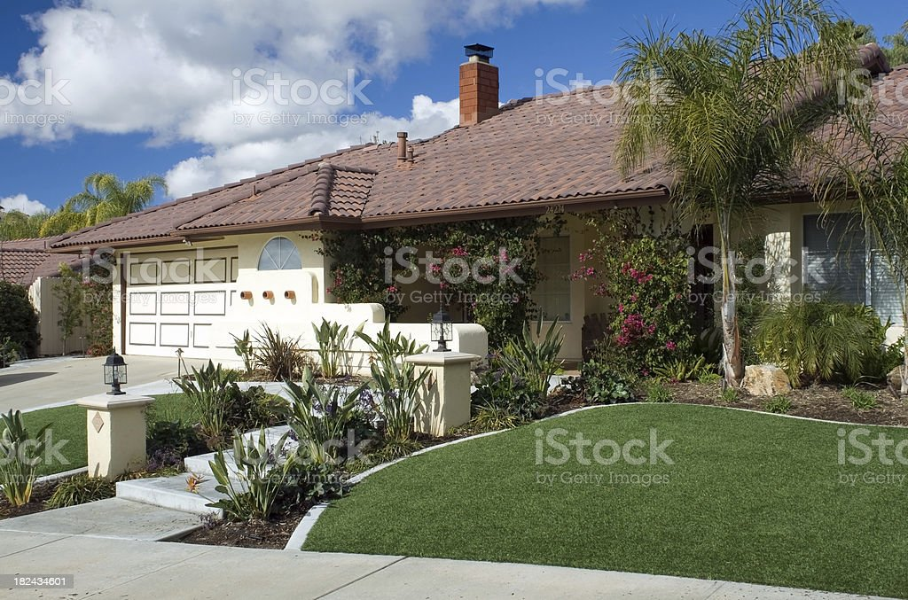 Artifical Lawn Home Horizontal stock photo