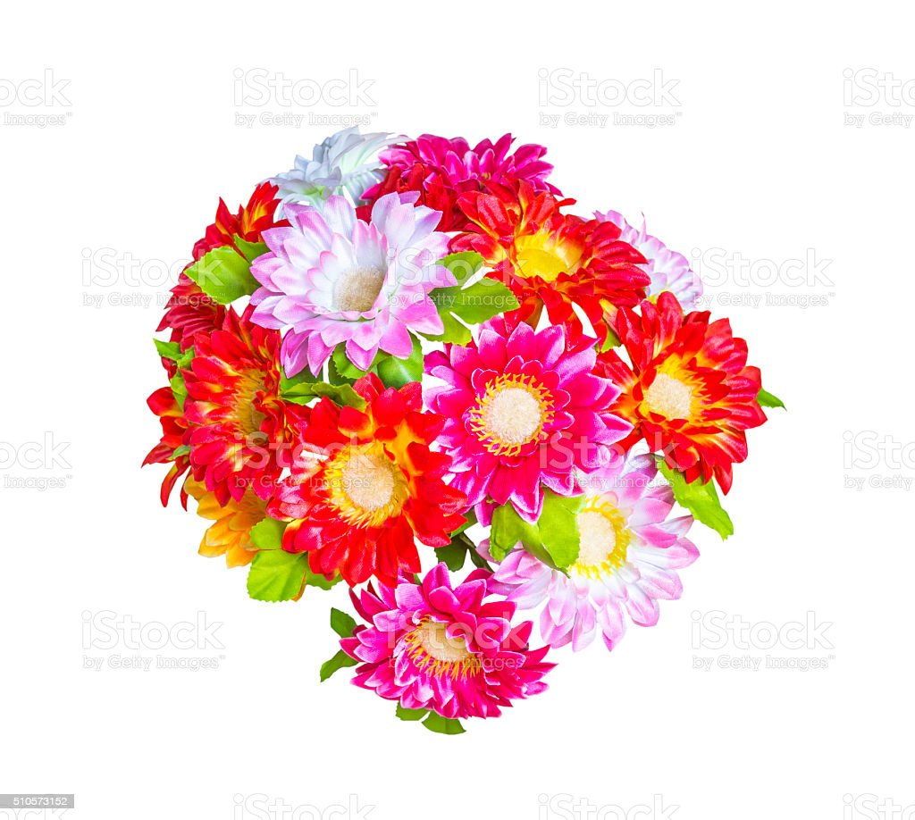 Artificial  bouguet flowers isolated stock photo
