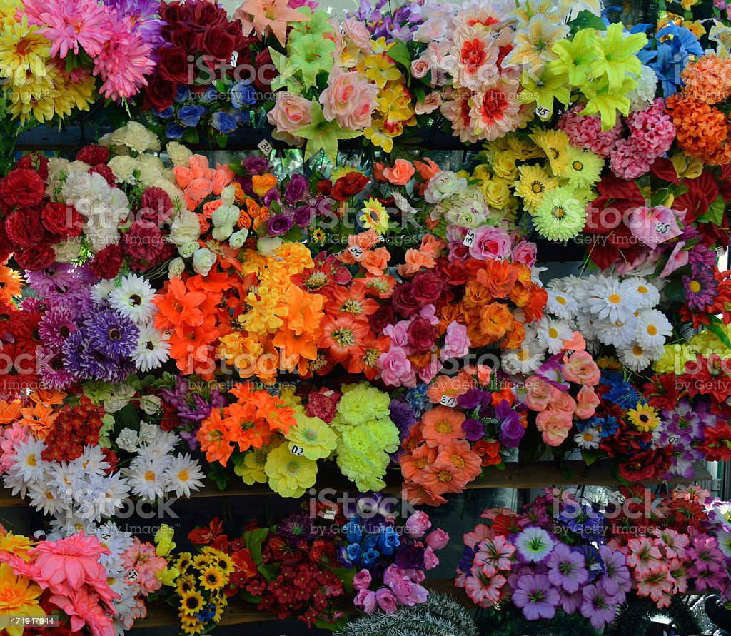 Artificial cloth flowers for sale stock photo