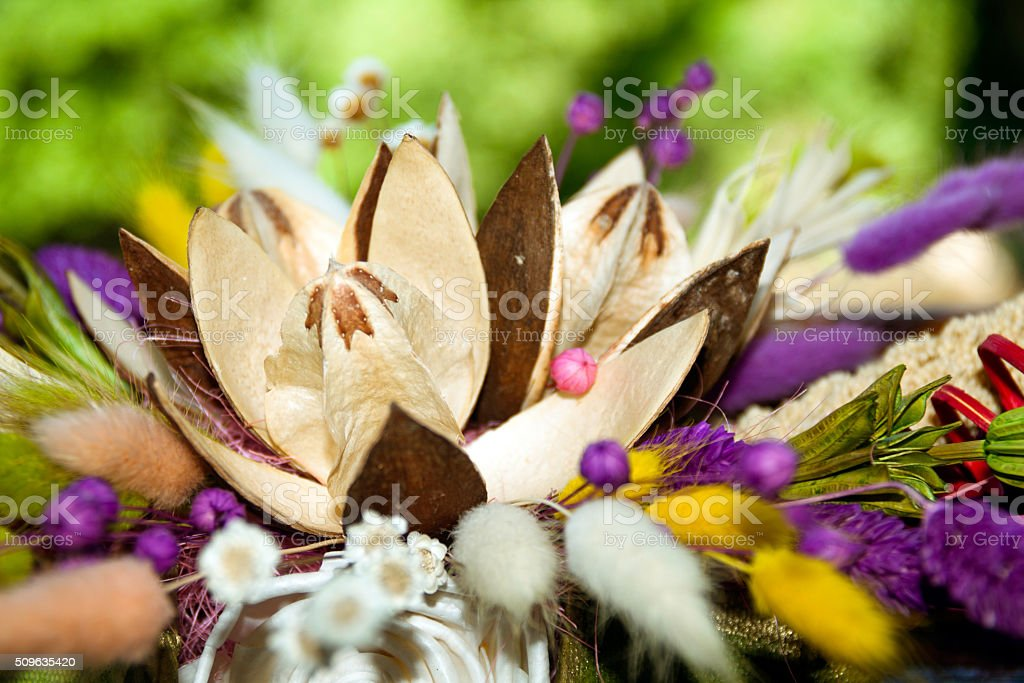 Artificial decorative flower for interior and house stock photo