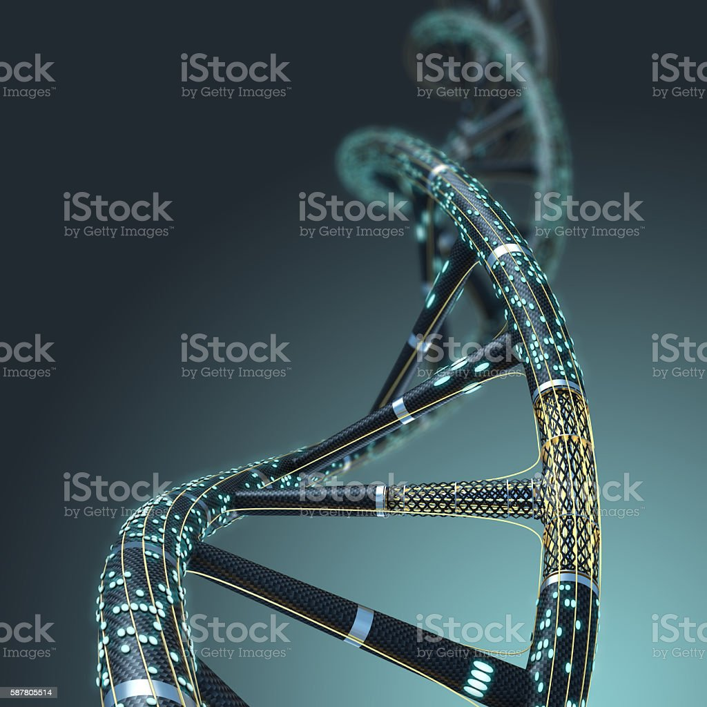 Artificial DNA molecule, the concept of artificial intelligence, stock photo