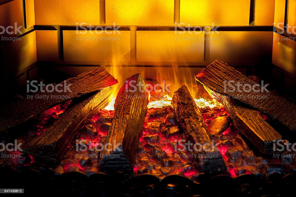 Artificial electronic fireplace stock photo