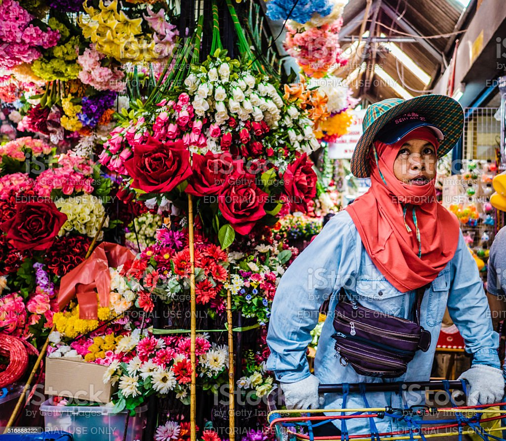 Artificial flower shop Chatuchak market Bangkok stock photo
