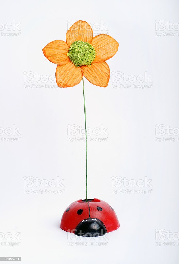 artificial flower with ladybug royalty-free stock photo