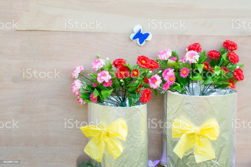 Artificial flowers from paper. stock photo