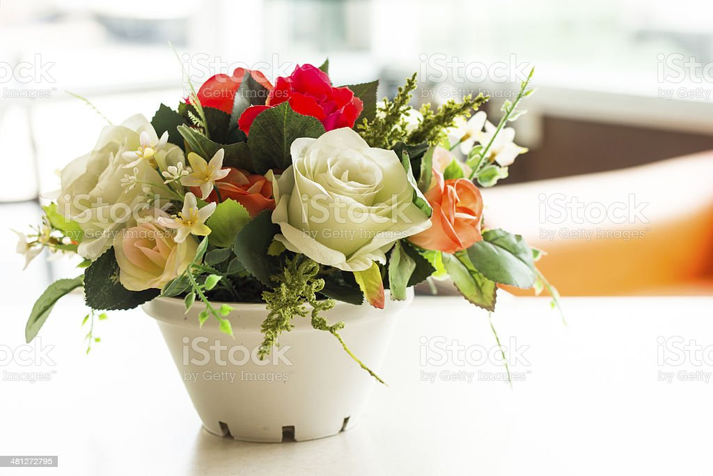 artificial Flowers in office royalty-free stock photo