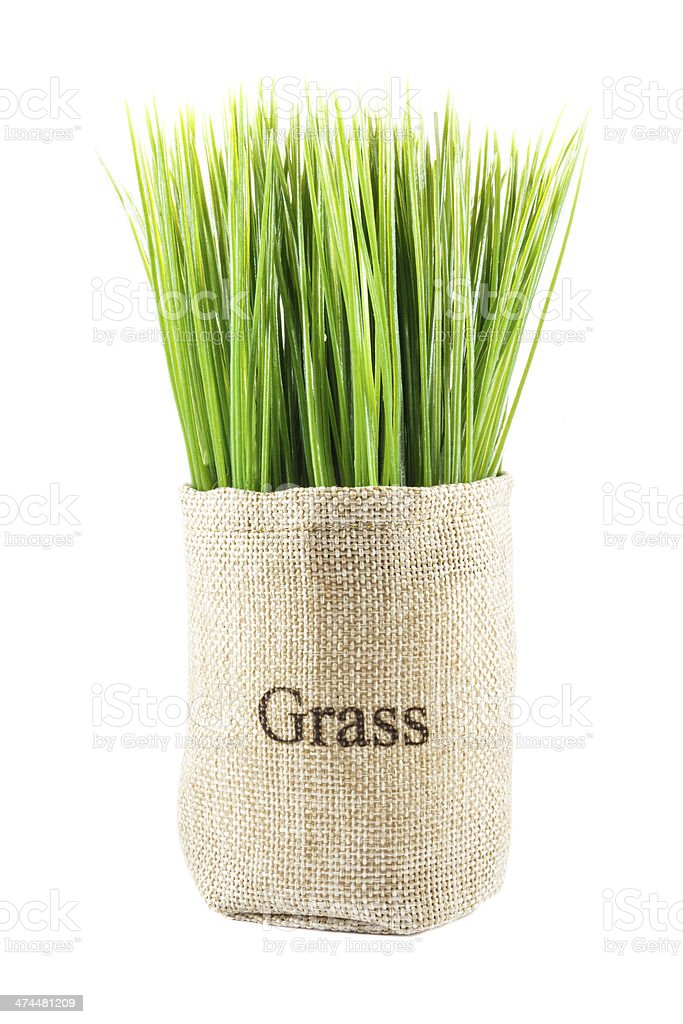 artificial grass in sack royalty-free stock photo
