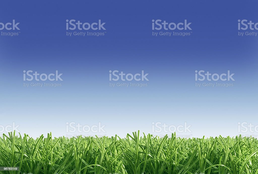 Artificial grass with blue sky royalty-free stock photo