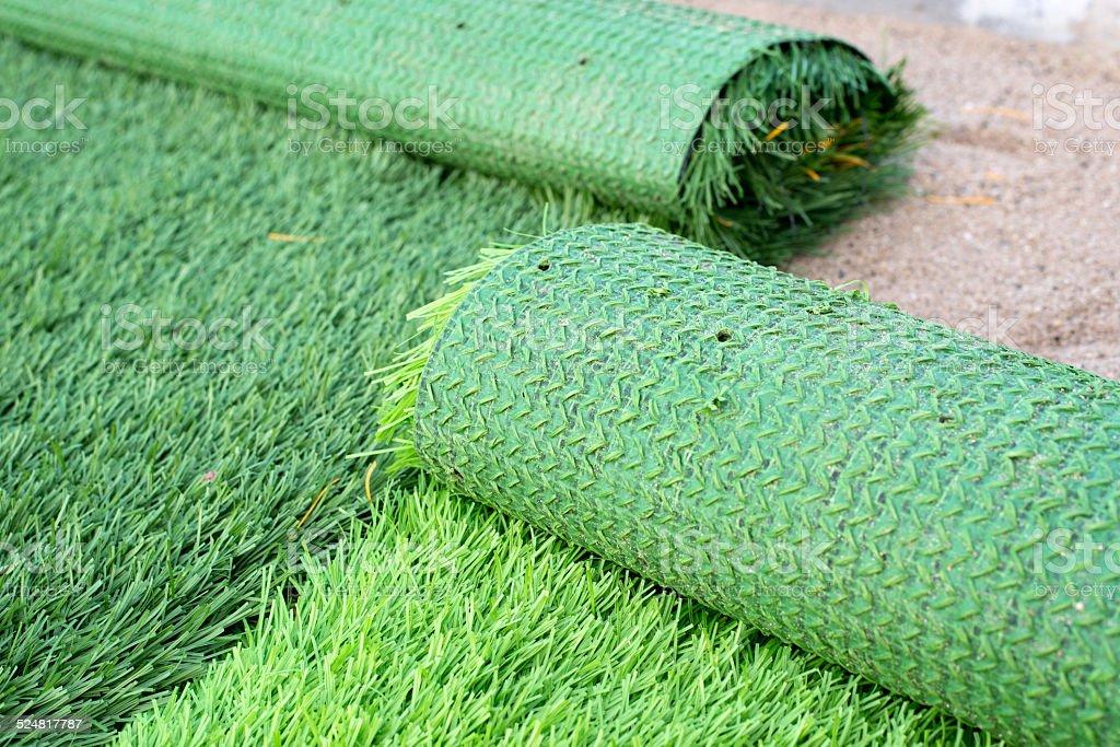 artificial green grass stock photo