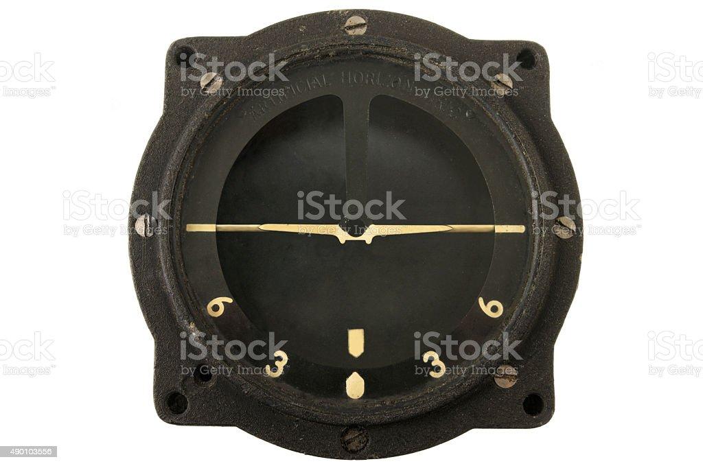 Artificial horizon or attitude indicator or gyro horizon instrument dial stock photo