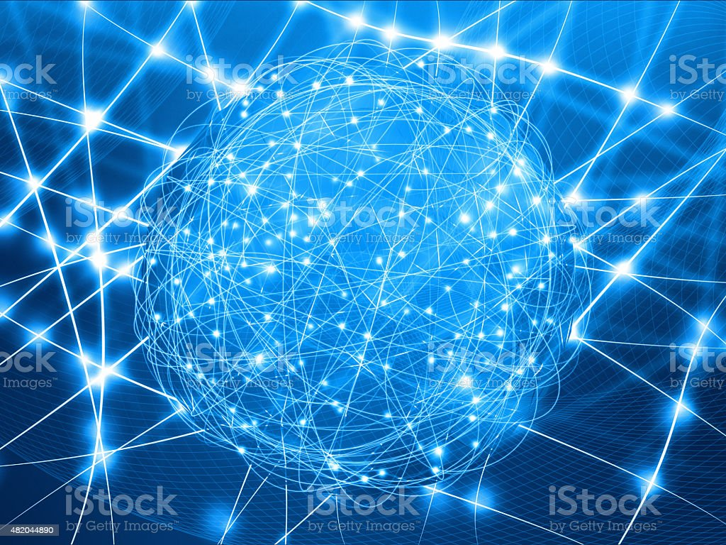 Artificial intelligence: abstract world connected by neural computer network stock photo
