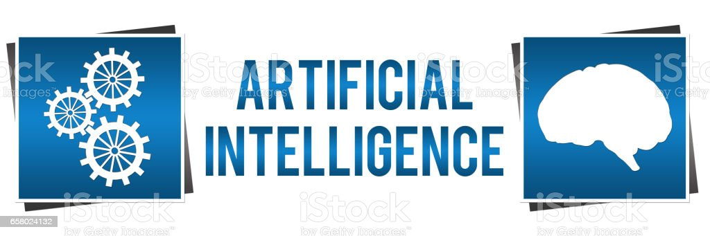 Artificial Intelligence Blue Squares Horizontal stock photo