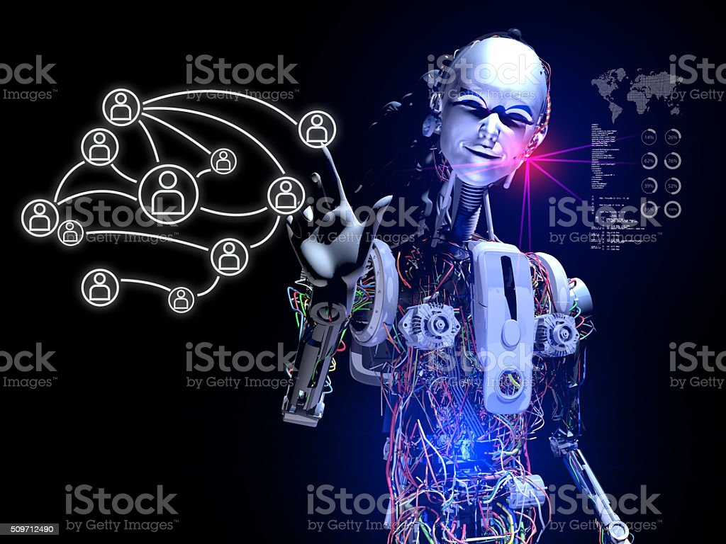 Artificial Intelligence builds Social Media Links stock photo