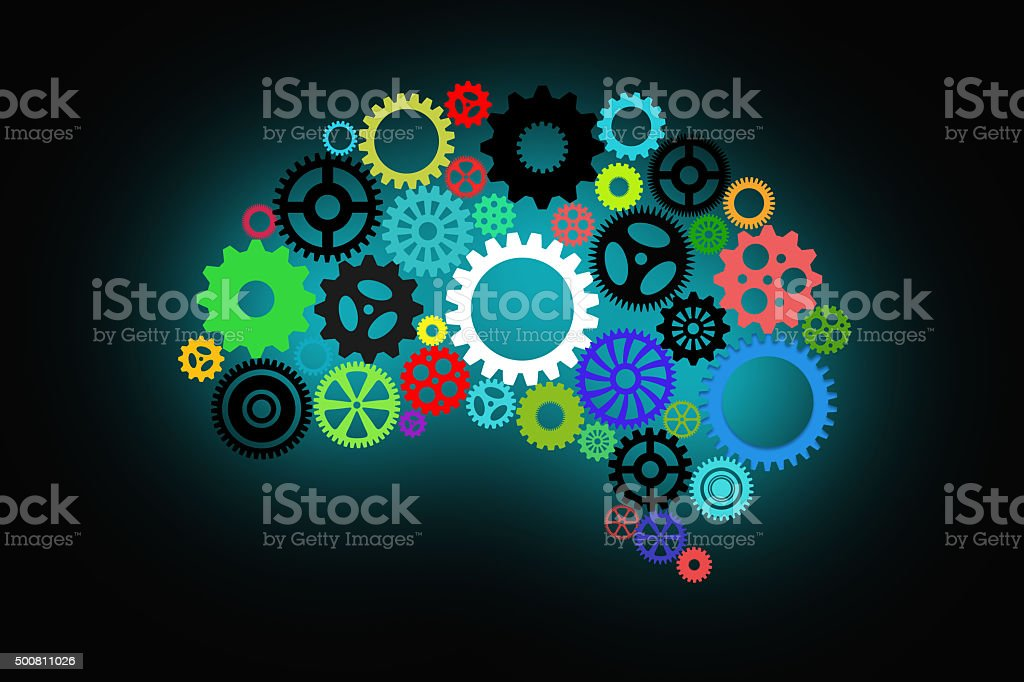 Artificial intelligence with human brain shape and gears stock photo