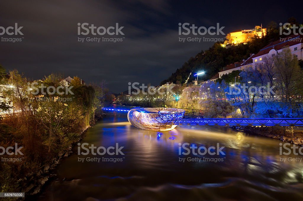 Artificial island on the Mur river in Graz stock photo