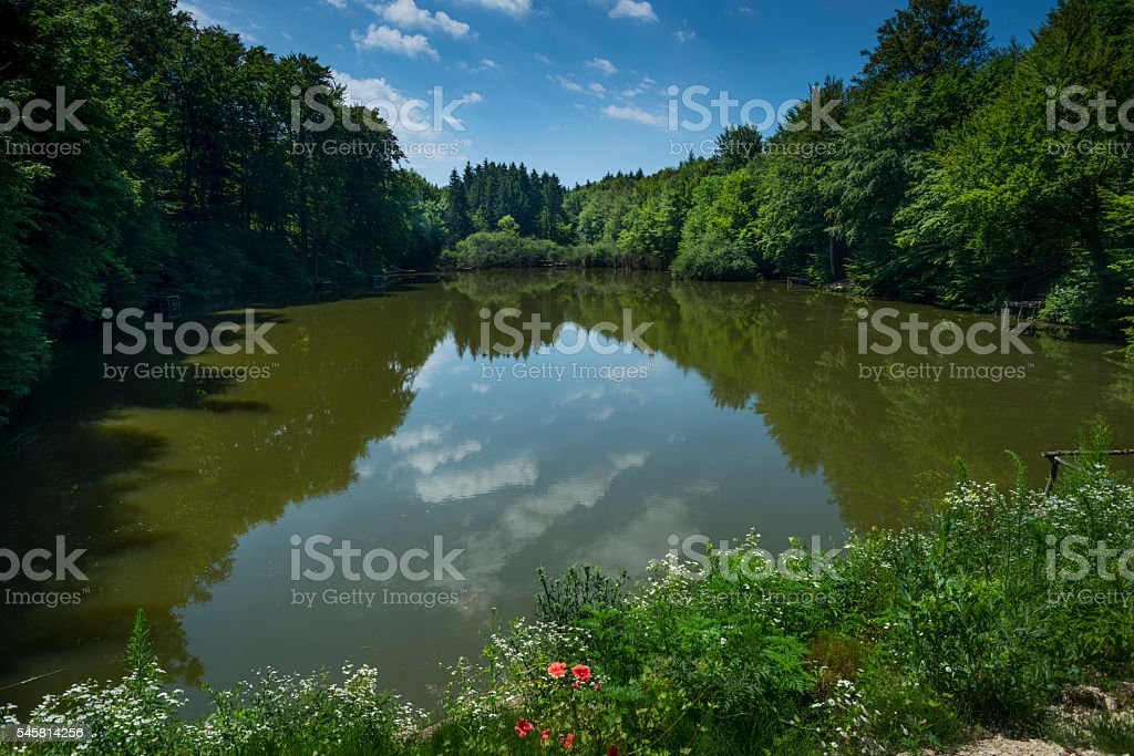 Artificial lagoon made by the human stock photo