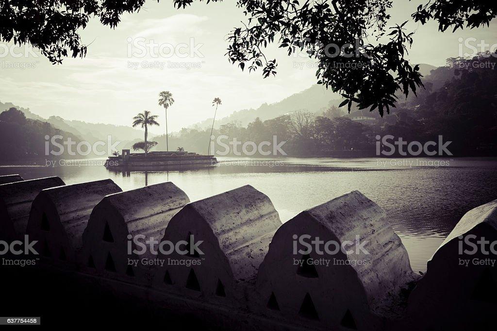 Artificial lake Bogambara and Diyathilaka Mandapaya stock photo