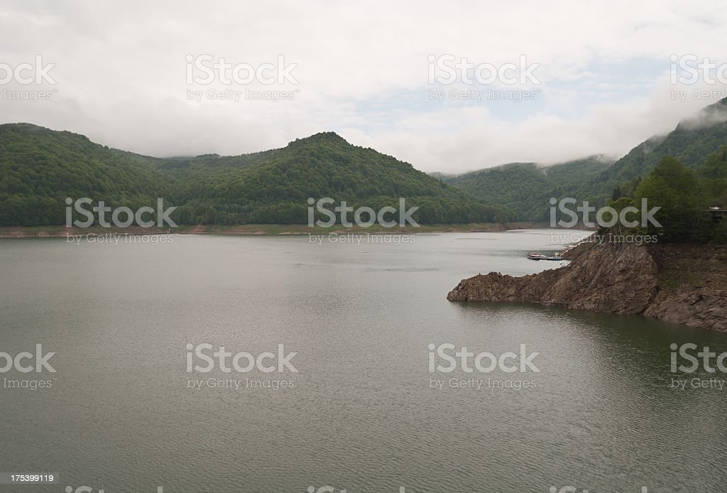 Artificial lake in Carpathians stock photo