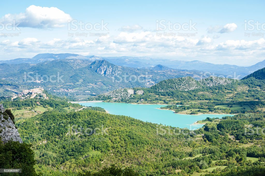 Artificial Lake with Mountains stock photo