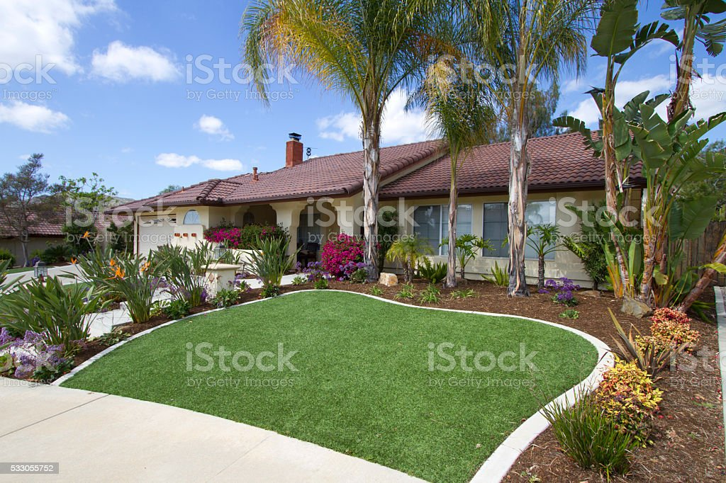 Artificial Lawn Home Angle stock photo