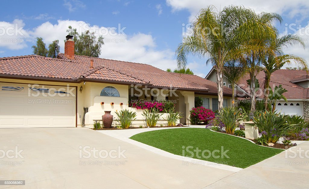 Artificial Lawn Home stock photo