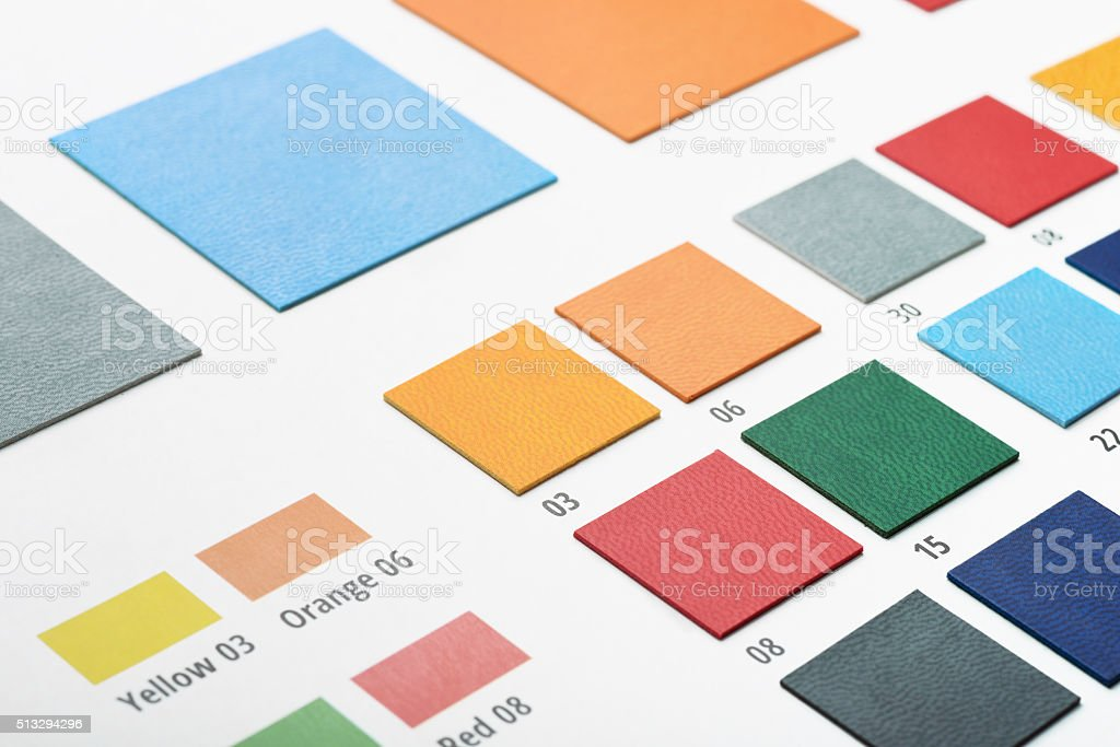 Artificial leather color swatches stock photo