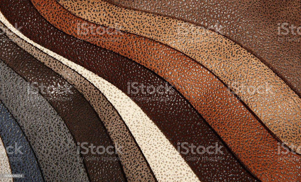 Artificial leather variety shades of colors horizontal stock photo