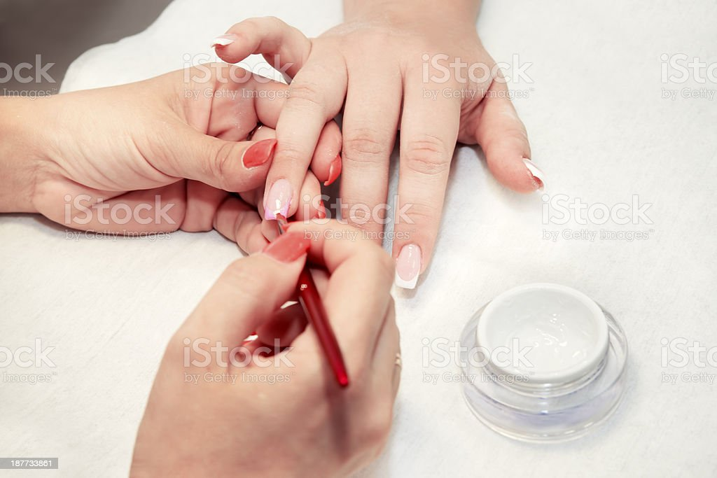 Artificial nails in a beauty salon stock photo
