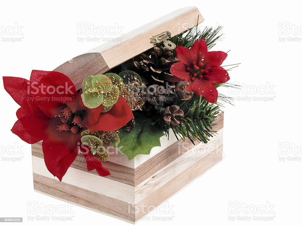 Artificial Poinsettia in a Little Wooden Box royalty-free stock photo