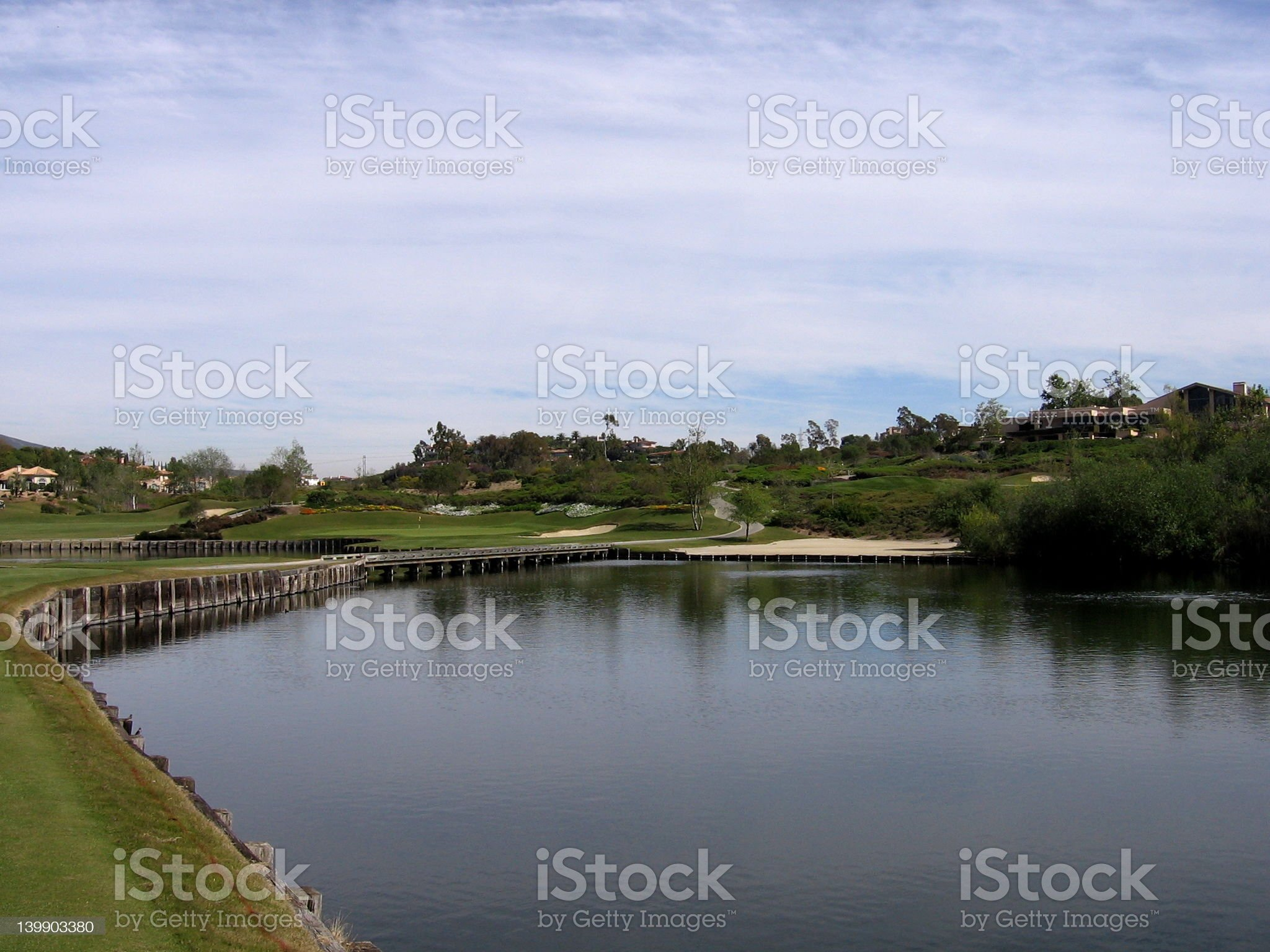 Artificial Pond on Golf Course royalty-free stock photo
