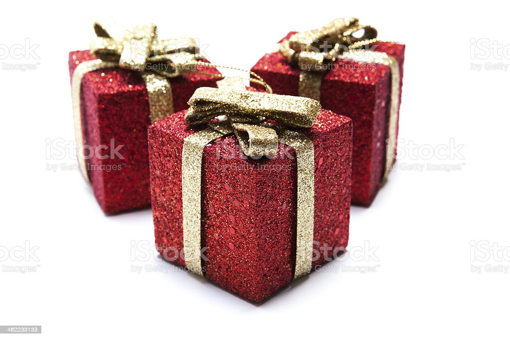 Artificial red gift boxes stock photo