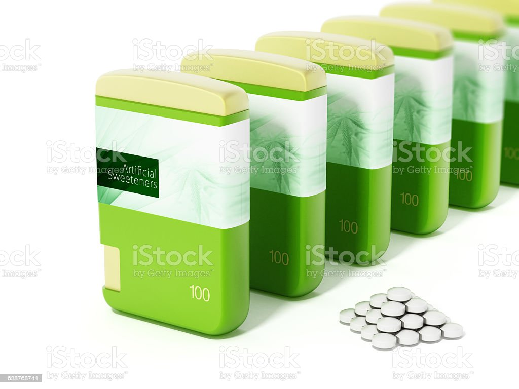 Artificial sweeteners in a row stock photo