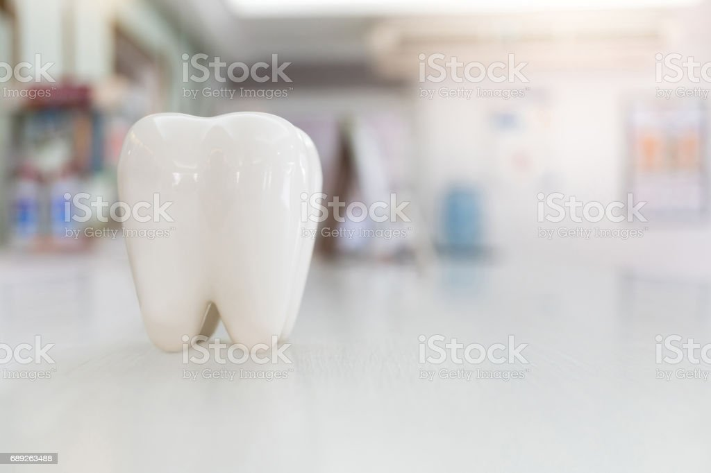Artificial teeth model on wood table with blur background stock photo