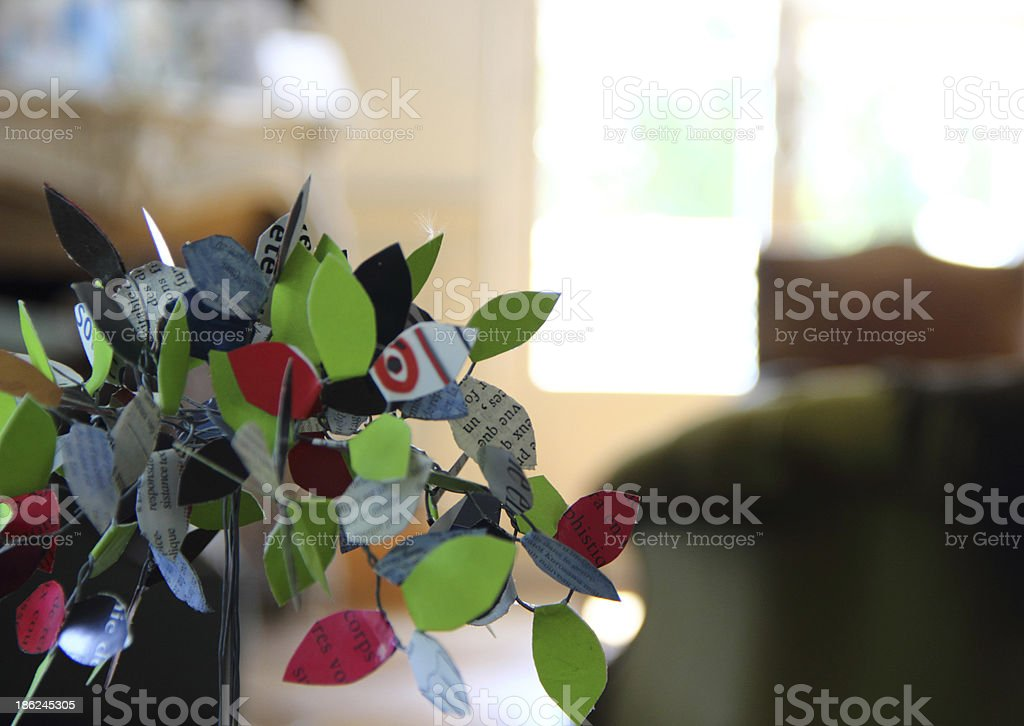 Artificial tree on the table stock photo
