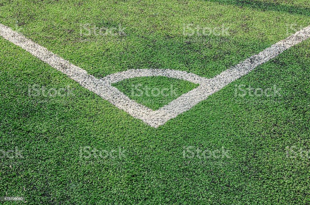 Artificial turf soccer field, a corner marker line vector art illustration