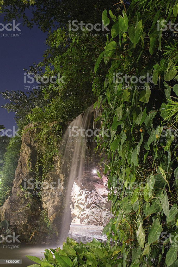 Artificial Waterfall captured at night royalty-free stock photo