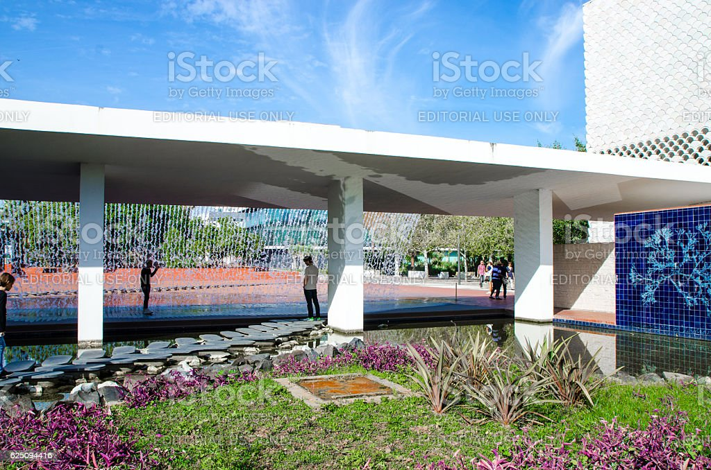 Artificial waterfall made with concrete at Park of nations stock photo
