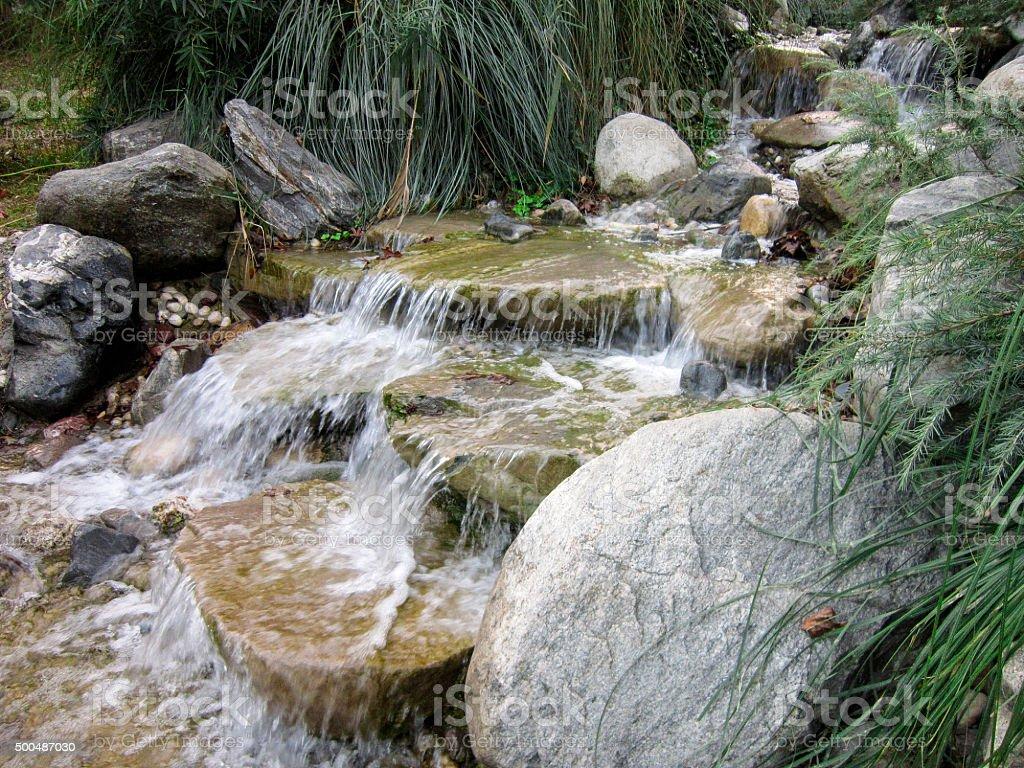 Artificial Waterfall stock photo