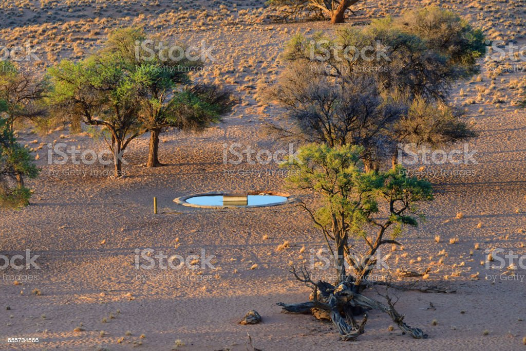 Artificial waterhole for animals in Namibia stock photo