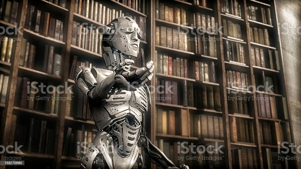 Artificially intelligent robot standing among old books stock photo