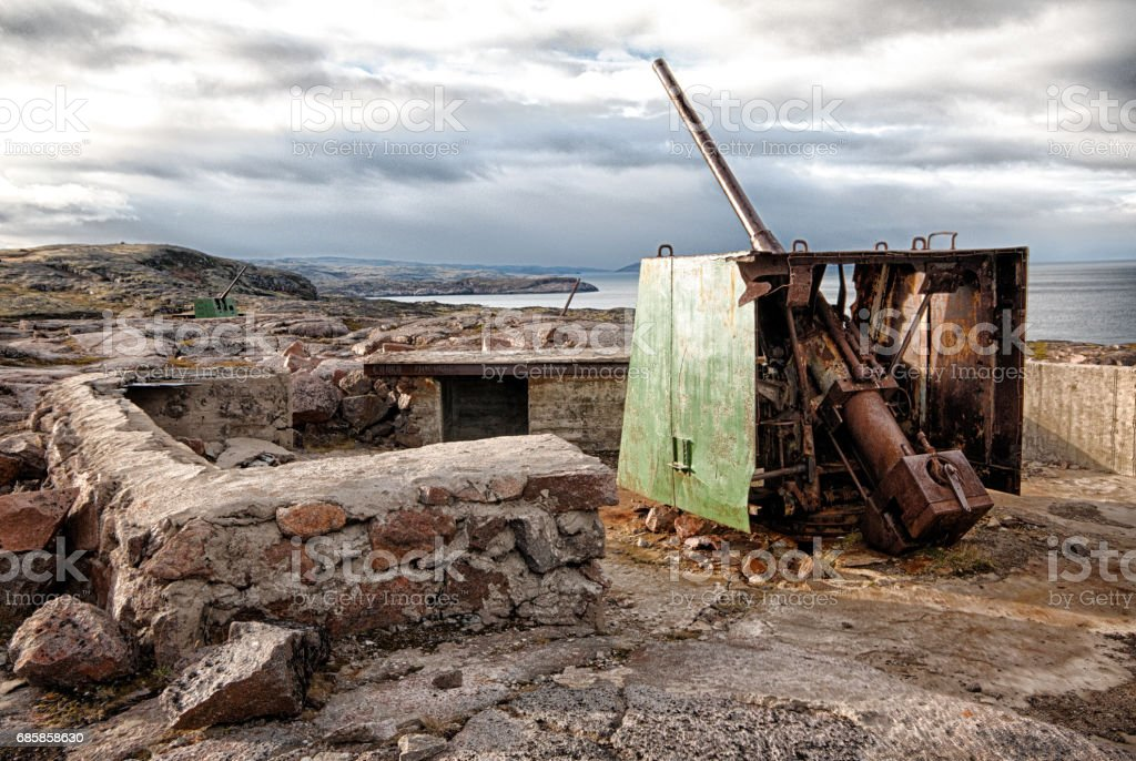 Artillery defence north coast Russia stock photo