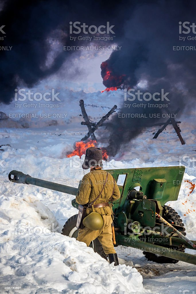Artillery fire.  Reconstruction of the Second World War battle royalty-free stock photo