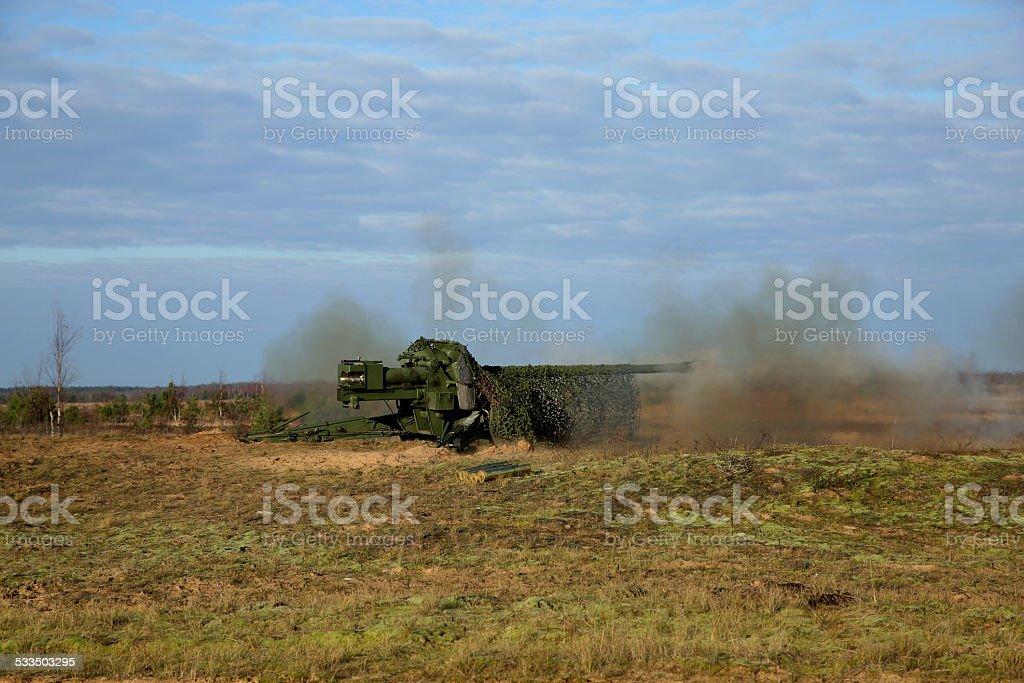 artillery gun  after shoot stock photo