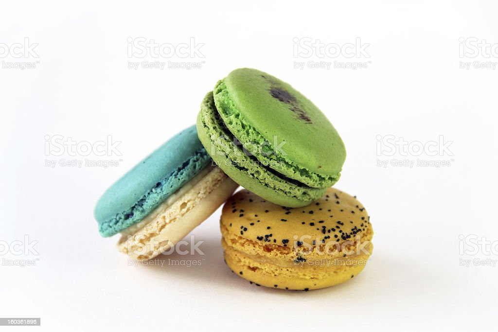 Artisan Blue, Green, and Yellow Macarons Close-Up royalty-free stock photo