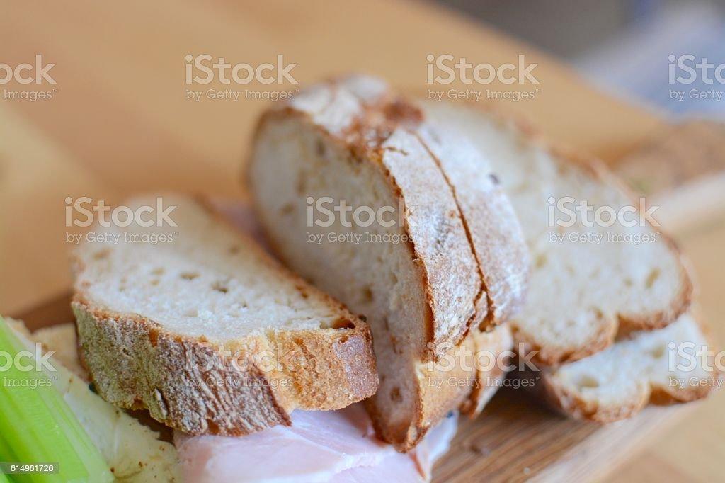 Artisan bread board stock photo